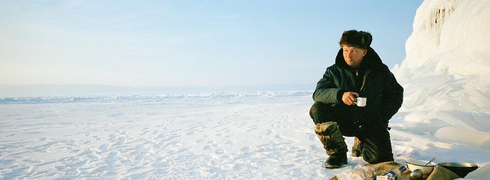 Local man on the frozen Lake Baikal, Siberia, Russia