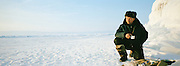 Local man on the frozen Lake Baikal, Siberia, Russia