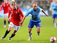Fotball VM kvalifisering 15.10.2008<br /> FIFA World Cup South Africa Qualifier<br /> Ullevaal Stadium <br /> Norge vs Nederland<br /> Norway vs Netherlands<br /> <br /> Result  0 - 1<br /> <br /> Foto: Robert Christensen Digitalsport<br /> <br /> Norway Morten Gamst pedersen<br /> <br /> Netherlands Demy de Zeeuw