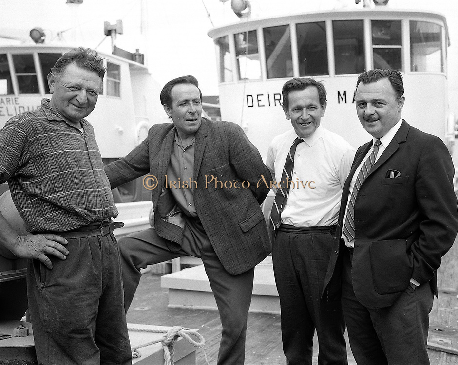 8th July 1969<br /> <br /> Special for B.I.M. Arrival of two new French built trawlers for Killybegs. Pictured are members of the crew and skipper of the vessels moored at George's Quay, Dublin.  8th July 1969