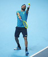 Tennis - 2019 Nitto ATP Finals at The O2 - Day Three<br /> <br /> Singles Group Bjorn Borg: Roger Federer (Switzerland) vs. Matteo Berrettini (Italy)<br /> <br /> Matteo Berrettini serves.<br /> <br /> COLORSPORT/ANDREW COWIE