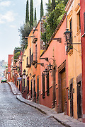 Spanish colonial homes along Cuadrante Street in the historic center of San Miguel de Allende, Mexico.