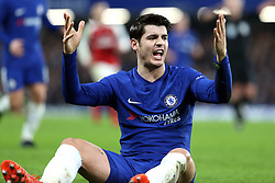 10 January 2018 - Football League Cup - Chelsea v Arsenal - Alvaro Morata of Chelsea appeals to the linesman after being brought down by Shkodran Mustafi of Arsenal - Photo: Charlotte Wilson / Offside