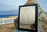 Plaque on 2 Para Memorial  at Goose Green, Falkland Islands showing names of war dead including Colonel H Jones