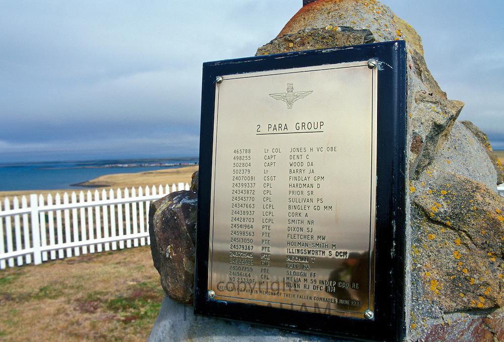 Plaque on 2 Para Memorial  at Goose Green, Falkland Islands showing names of war dead including Colonel H Jones