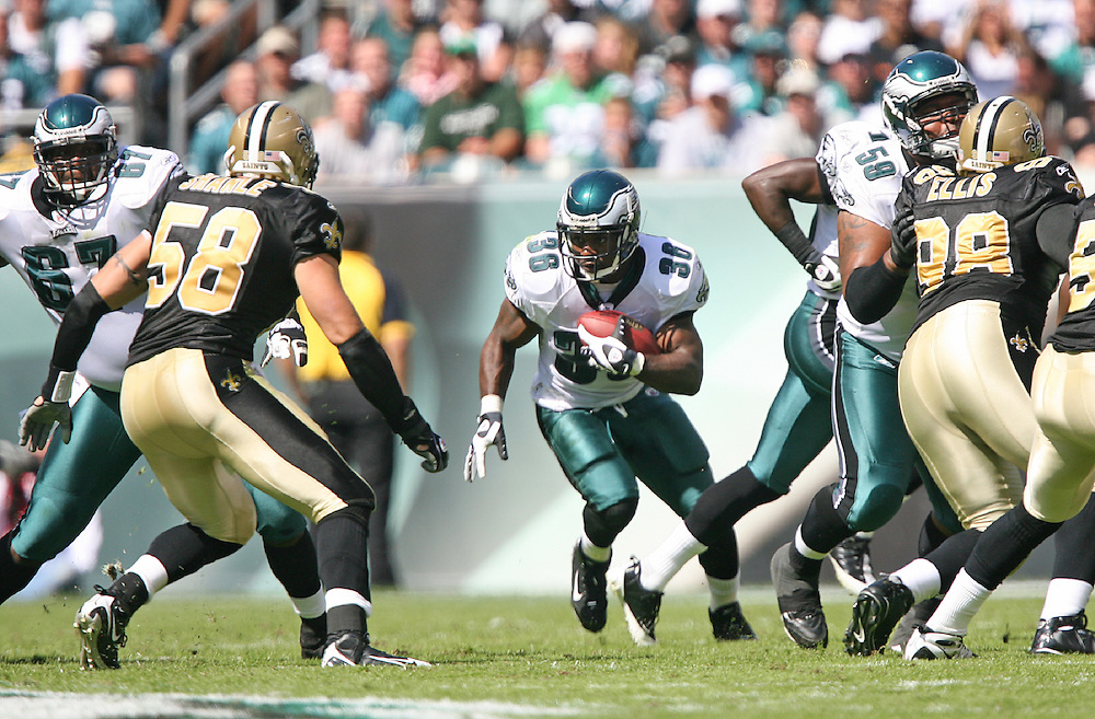 PHILADELPHIA - SEPTEMBER 20: Brian Westbrook of the Philadelphia Eagles during a game against the New Orleans Saints on September 20, 2009 at Lincoln Financial Field in Philadelphia, Pennsylvania. (Photo by Hunter Martin)