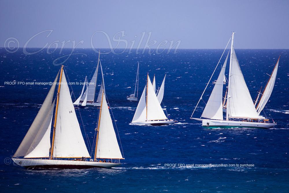 Sumurun, Peter Von Seestermuhe, and Carl Linne sailing in the Antigua Classic Yacht Regatta, Windward Race.