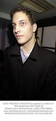 LORD FREDERICK WINDSOR at a party in London on 18th September 2001.OSM 72