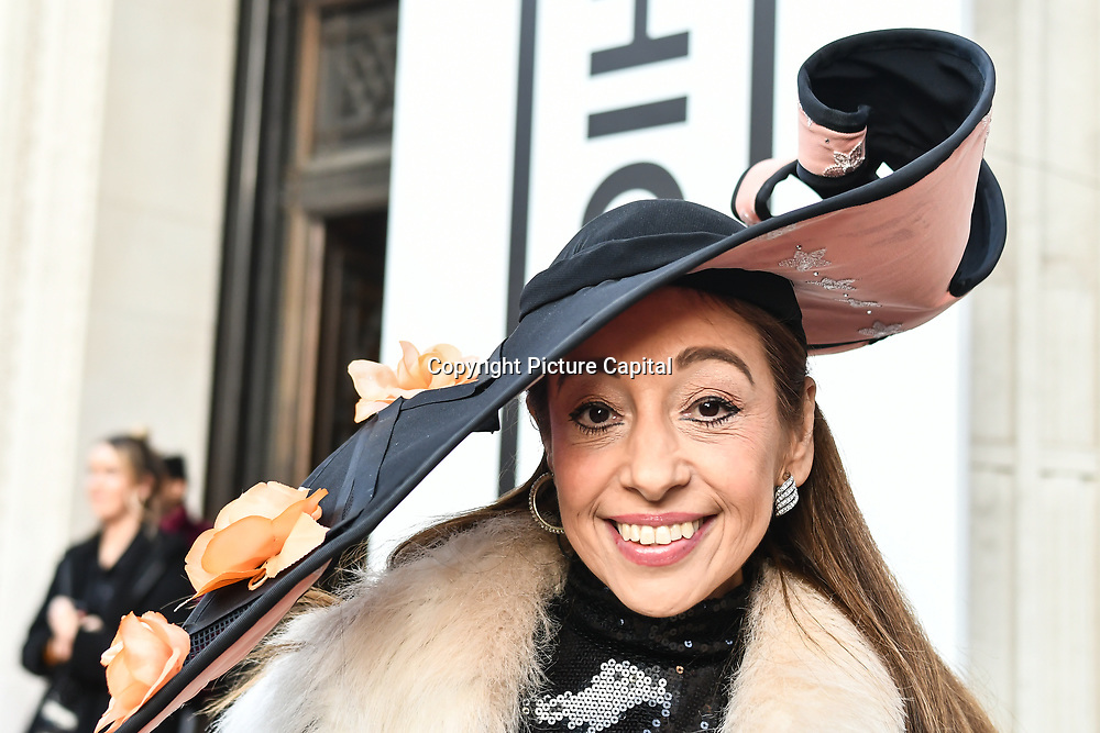 Tracy Rose is a hats designer attend Fashion Scout LFW AW19 Day 1 at Freemasons' Hall, London, UK. 15 Feb 2019