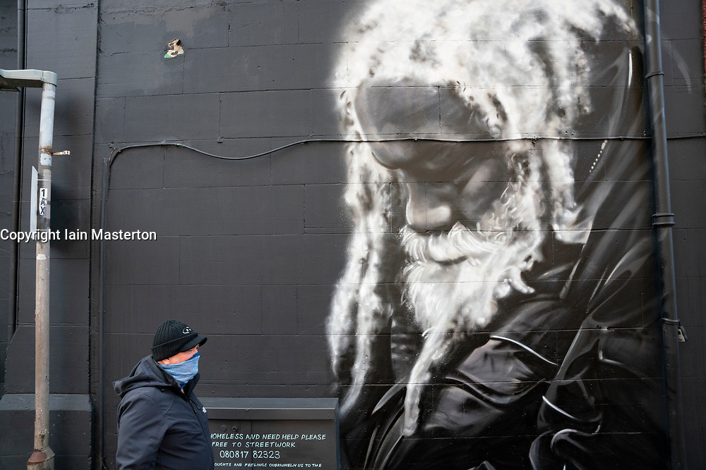 New mural of local long term homeless man Arthur Williams by Shona Hardie in Leith, Edinburgh, Scotland, UK