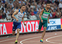 Athletics - 2017 IAAF London World Athletics Championships - Day Four, Evening Session<br /> <br /> Mens 200m Round 1<br /> <br /> Daniel Talbot Great Britain) and Wayde Van Niekerk (South Africa) at the London Stadium<br /> <br /> COLORSPORT/DANIEL BEARHAM