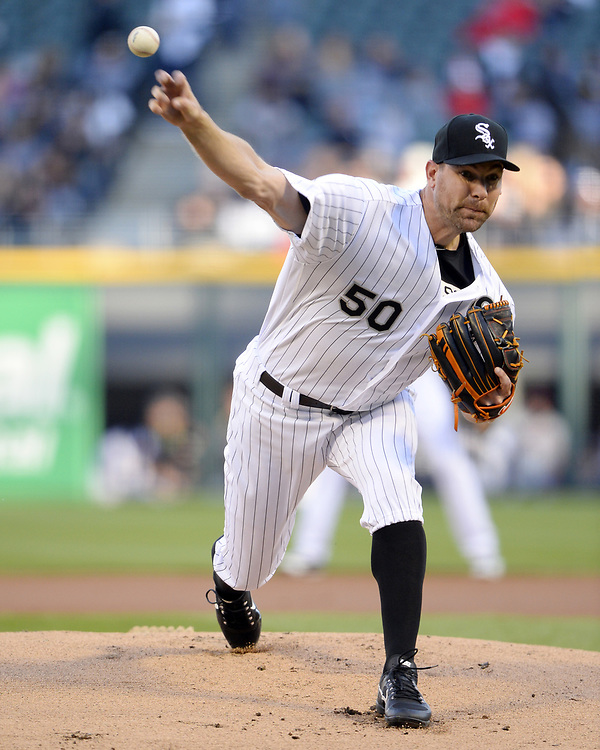CHICAGO - APRIL 22:  Mike Pelfrey #50 of the Chicago White Sox pitches against the Cleveland Indians on April 22, 2017 at Guaranteed Rate Field in Chicago, Illinois.  The Indians defeated the White Sox 7-0.  (Photo by Ron Vesely)   Subject:  Mike Pelfrey