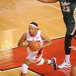 Jan 31, 2009; Piscataway, NJ, USA; Rutgers guard Brittany Ray (35) passes to guard Khadijah Rushdan (1) during the second half of South Florida's 59-56 victory over Rutgers in NCAA women's college basketball at the Louis Brown Athletic Center