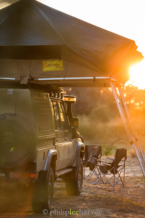 Safari 4x4 with roof tents at sunset in South Luangwa National Park, Zambia