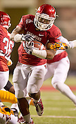 Nov 12, 2011; Fayetteville, AR, USA; Arkansas Razorback running back Dennis Johnson (33) carries the ball during the second half of a game against the Tennessee Volunteers at Donald W. Reynolds Razorback Stadium. Arkansas defeated Tennessee 49-7. Mandatory Credit: Beth Hall-US PRESSWIRE