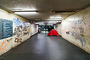 A tent of a homeless person is seen at the Waterloo overground station entry bridge on Sunday, March 22, 2020. <br /> Homeless people in the United Kingdom facing the risk of death from Coronavirus. Last years alone, 320,000 people were recorded as homeless in Britain, analysis from housing charity Shelter suggests. It is a rise of 13,000, or 4%, on last year's figures and equivalent to 36 new people becoming homeless every day.<br /> For most people, the new coronavirus causes only mild or moderate symptoms, such as fever and cough. For some, especially older adults and people with existing health problems, it can cause more severe illness, including pneumonia. <br /> (Photo/Vudi Xhymshiti)
