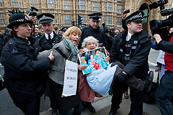 **Retransmission with name of protestor**  © licensed to London News Pictures. London, UK 27/02/2012. A group of NHS protesters, including 81 year-old Shirley Mugraff (right) being carried out of the street as they are blocking Arbingdon Street to protest the government's NHS reform, next to the Houses of the Parliament. Photo credit: Tolga Akmen/LNP