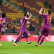 Galatasaray's Selcuk Inan (C) celebrate his goal with team mate during their Ziraat Turkey CUP soccer match Galatasaray between Eskisehirspor at the AliSamiYen TT Arena at Seyrantepe in Istanbul Turkey on Wednesday, 03 December 2014. Photo by Kurtulus YILMAZ/TURKPIX