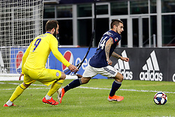 May 15, 2019 - Foxborough, MA, U.S. - FOXBOROUGH, MA - MAY 15: New England Revolution midfielder Diego Fagundez (14) tries to escape from Chelsea FC forward Gonzalo Higua'n (9) during the Final Whistle on Hate match between the New England Revolution and Chelsea Football Club on May 15, 2019, at Gillette Stadium in Foxborough, Massachusetts. (Photo by Fred Kfoury III/Icon Sportswire) (Credit Image: © Fred Kfoury Iii/Icon SMI via ZUMA Press)