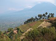 A small hilltop village in Parc National des Volcans, Rwanda