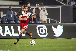 April 29, 2018 - Bronx, New York, United States - FC Dallas defender MATT HEDGES (24) during a regular season match at Yankee Stadium in Bronx, NY.  NYCFC defeats FC Dallas 3 to 1. (Credit Image: © Mark Smith via ZUMA Wire)