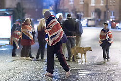 "© Licensed to London News Pictures . 11/01/2013 . Belfast , UK . Loyalist protesters in Castlereagh , East Belfast , block major routes in and out of Belfast as part of "" Operation Standstill "" today (11th January 2013) . The protest is one of many that have been held since Belfast City Council voted to stop flying the Union flag above Belfast City Hall . Photo credit : Joel Goodman/LNP."