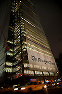 An exterior image of the New York Times Building on 8th Ave. in New York City, New York, USA