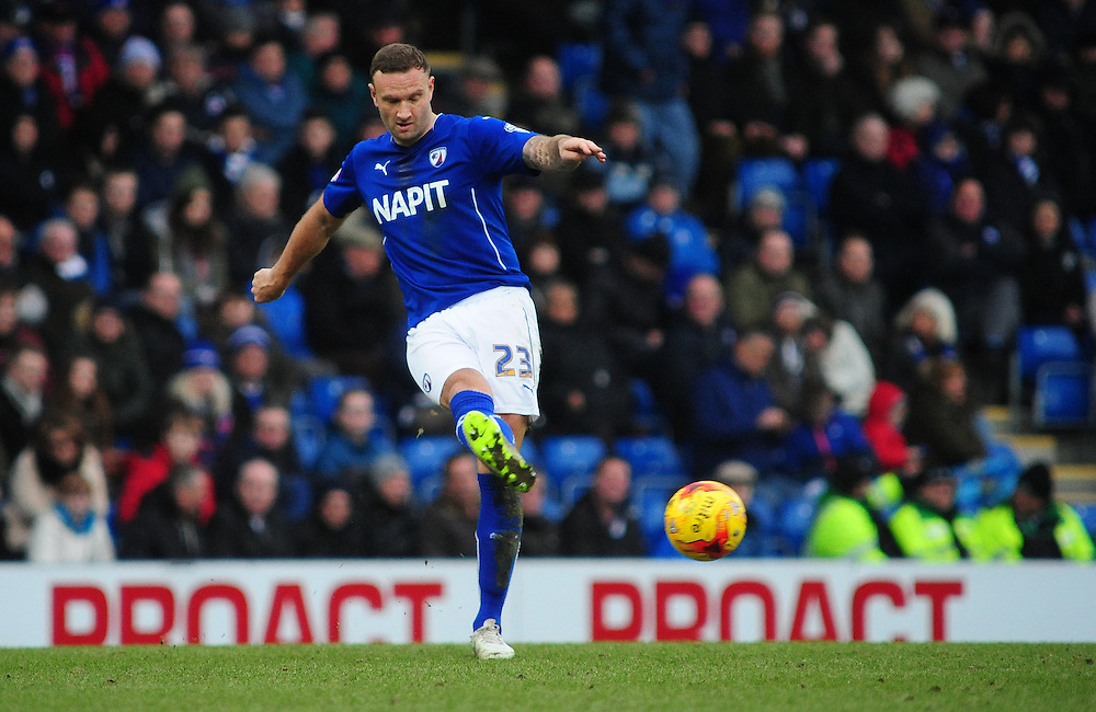 Chesterfield's Ian Evatt in action during todays match  <br /> <br /> Photographer Chris Vaughan/CameraSport<br /> <br /> Football - The Football League Sky Bet League One - Chesterfield v Fleetwood Town - Saturday 28th February 2015 - Proact Stadium - Chesterfield<br /> <br /> © CameraSport - 43 Linden Ave. Countesthorpe. Leicester. England. LE8 5PG - Tel: +44 (0) 116 277 4147 - admin@camerasport.com - www.camerasport.com