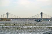 Nederland, Dodewaard, 14-2-2019Zicht op de brug, tacitusbrug, over de waal . De brug is onderdeel van de A50 snelweg .Foto: Flip Franssen