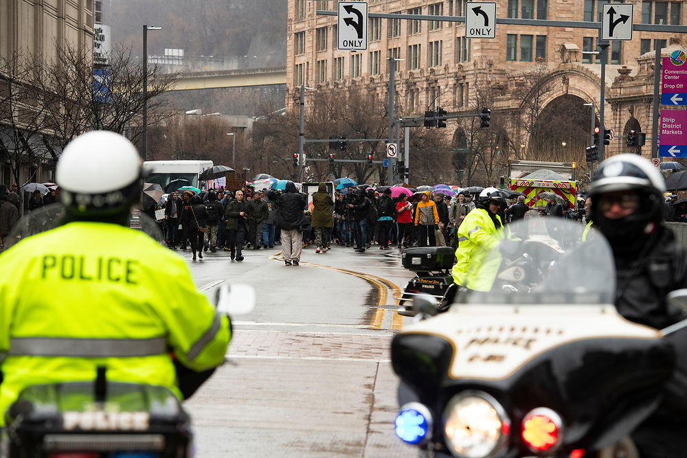 Pittsburgh Police officers provided roving road blocks to ensure the safety and security of the protest. Hundreds of Students from Pittsburgh Public Schools and Universities march though out Pittsburgh in Protest of Rosfeld Not Guilty Verdict.