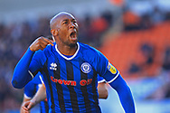 GOAL Calvin Andrew celebrates scoring for Rochdale 2-2  during the EFL Sky Bet League 1 match between Blackpool and Rochdale at Bloomfield Road, Blackpool, England on 6 October 2018.