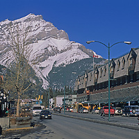 Mount Rundle towers over the main street in Banff National Park, Alberta, Canada.