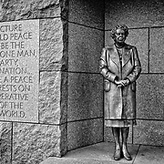 WASHINGTON, DC - An alcove of the FDR Memorial dedicated to former First Lady Eleanor  Roosevelt (1884-1962). It focuses on her work with the United Nations; she served as United States Delegate to the United Nations General Assembly from 1945 to 1952. The Franklin Delano Roosevelt Memorial is a presidential memorial in Washington D.C., dedicated to the memory of Franklin Delano Roosevelt, the 32nd President of the United States, and to the era he represents. FDR was president from 1933 to 1945, through the Great Depression and the Second World War. It sits on the banks of the Tidal Basin, next to Washington DC's National Mall.