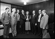 Clement Coughlan New Fianna Fáil TD.  (N50)..1989..11.11.1980..11th November 1980..The new Fianna Fáil TD for Donegal, Mr Clement Coughlan TD took his seat at Dáil Éireann, Leinster House today..Image shows Mr Clement Coughlan TD accompanied by his wife Peggy, meeting with an Taoiseach, Mr Charles Haughey in his private offices.Included in the picture are Mr Ray McSharry TD, Nr Sean Moore TD,Senator Bernard McGlinchey,Mr Hugh Conaghan TD and Senator Paddy McGowan.