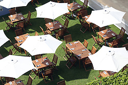 Tables and chairs are prepared ahead of day five of Royal Ascot at Ascot Racecourse. PRESS ASSOCIATION Photo. Picture date: Saturday June 23, 2018. See PA story RACING Ascot. Photo credit should read: Nigel French/PA Wire. RESTRICTIONS: Use subject to restrictions. Editorial use only, no commercial or promotional use. No private sales.