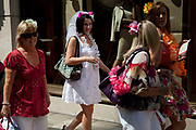Women out on a hen do on Bond Street, central London