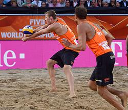 20150705 NED: WK Beachvolleybal day 10, Den Haag<br /> Reinder Nummerdor #1 en Christiaan Varenhorst #2 (foto) zijn er niet in geslaagd de finale van de WK beachvolleybal te winnen. In de finale waren de Brazilianen met 2-1 te sterk