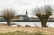 Nederland, Nijmegen, 28-2-2019 De oever van de Waal met op de achtergrond de waalkade en skyline van Nijmegen .Hij loopt op het lentereiland, eiland Lent, veurlent .Foto: Flip Franssen