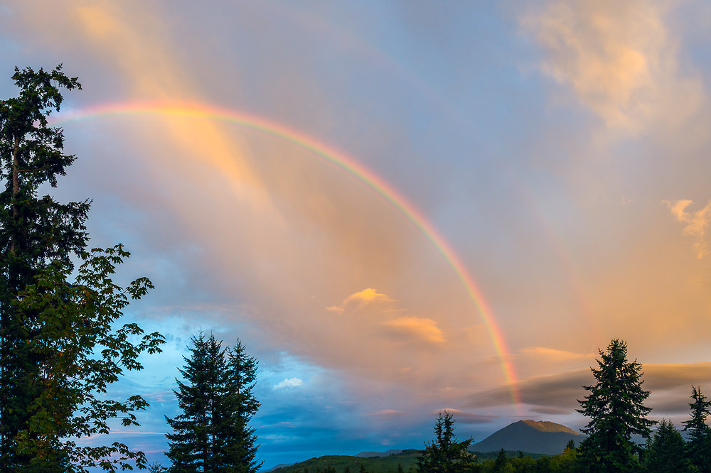 Rainbow, September, view toward Blue Mountain in Olympic National Park from Mount Pleasant, North Olympic Peninsula, Washington, USA