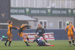 Alex Callender of Worcester Warriors Women holds onto the heel of her opponent - Mandatory by-line: Nick Browning/JMP - 24/10/2020 - RUGBY - Sixways Stadium - Worcester, England - Worcester Warriors Women v Wasps FC Ladies - Allianz Premier 15s