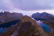 Reinefjorden at dusk from Helvetestinden, Moskenesoya, Lofoten Islands, Norway.