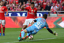 April 14, 2017 - Lisbon, Lisbon, Portugal - Benficas forward Toto Salvio from Argentina (L) and Maritimo's goalkeeper Charles Silva from Brazil (R)during the Premier League 2016/17 match between SL Benfica v Maritimo M., at Luz Stadium in Lisbon on April 14, 2017. (Credit Image: © Dpi/NurPhoto via ZUMA Press)
