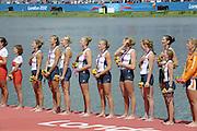 Eton Dorney, Windsor, Great Britain,..2012 London Olympic Regatta, Dorney Lake. Eton Rowing Centre, Berkshire.  Dorney Lake.   ..Women's Eights, Description;   USA W8+ Gold Medalist. .Erin CAFARO (b) , Zsuzsanna FRANCIA (2) , Esther LOFGREN (3) , Taylor RITZEL (4) , Meghan MUSNICKI (5) , Eleanor LOGAN (6) , Caroline LIND (7) , Caryn DAVIES (s) , Mary WHIPPLE (c)   13:12:01   Thursday  02/08/2012   [Mandatory Credit: Peter Spurrier/Intersport Images]  .