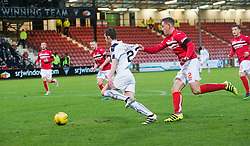 Falkirk's Tony Gallacher held by Dunfermline's Lee Ashcroft. Dunfermline 1 v 1 Falkirk, Scottish Championship game played 26/12/2016 at East End Park.