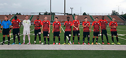 24 June 2015. New Orleans, Louisiana.<br /> National Premier Soccer League. NPSL. <br /> Jesters 0 - Atlanta Silverbacks 1.<br /> The Atlanta Silverbacks Reserves before the game at  the Pan American Stadium. <br /> Photo©; Charlie Varley/varleypix.com