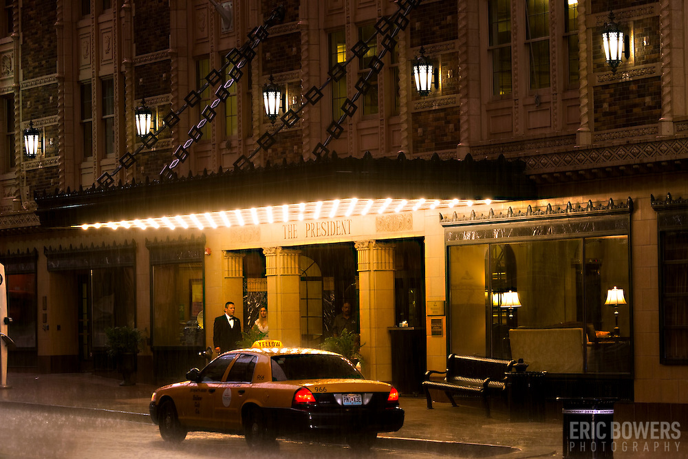 Hilton Hotel President, downtown Kansas City, Missouri in the evening during rain showers.