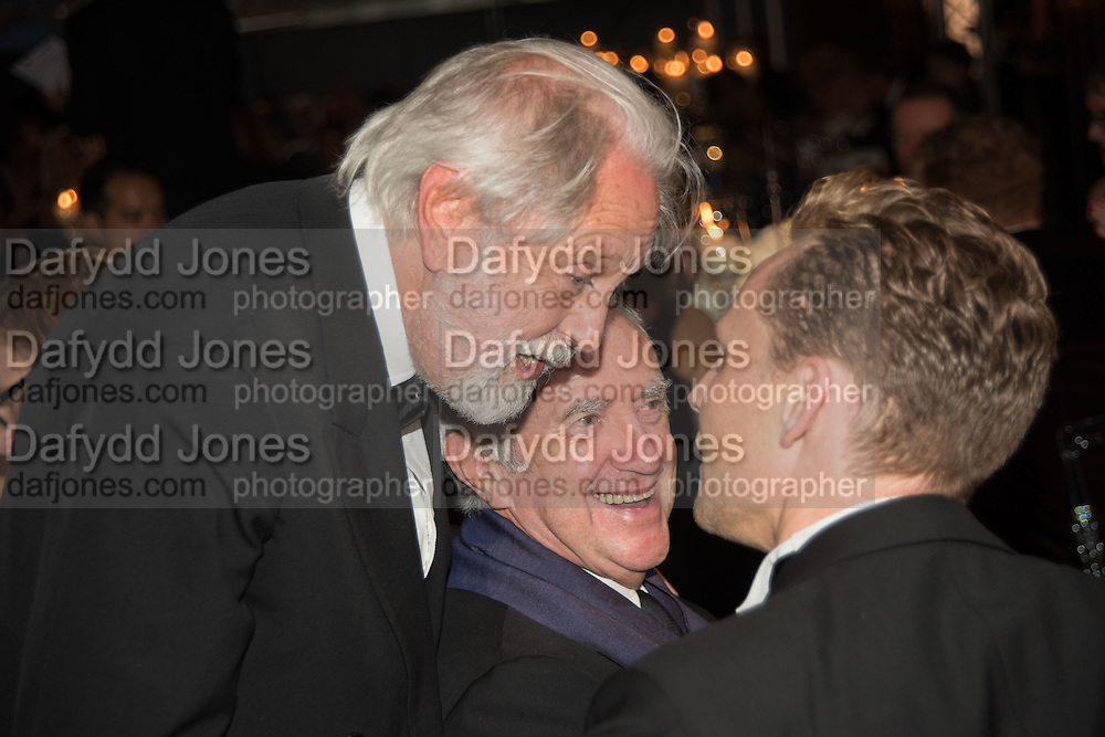 SIR DAVID PUTNAM; JONATHAN PRYCE; TOM HIDDLESTON, Luminous -Celebrating British Film and British Film Talent,  BFI gala dinner & auction. Guildhall. City of London. 6 October 2015.