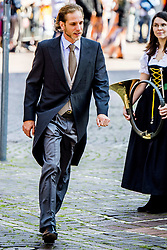 Princess Caroline's son Andrea Casiraghi at the wedding ceremony of heir of the throne of German House of Hanover, Prince Ernst August Jr. of Hanover, Duke of Braunscshweig and Lueneburg, and Russian designer Ekaterina Masysheva at the Marktkirche church in Hanover, Germany, 08 July 2017. The son of Prince Ernst August of Hanover Sen., who is married to Princess Caroline of Monaco, is related to several royal houses in Europe. The House of Hanover is a German royal dynasty that also ruled the United Kingdom between. Ernst-August Sr.'s own father (Ernst-August IV) opposed his son's marriage to first wife Chantal, a Swiss commoner. Photo by Robin Utrecht/ABACAPRESS.COM