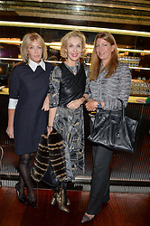 Left to right, LADY COSIMA SOMERSET, ALLEGRA HICKS and COUNTESS COSIMA PAVONCELLI at a ladies lunch in aid of the charity Child Bereavement UK held at The Bulgari Hotel, 171 Knightsbridge, London on 25th February 2016.