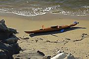 Wood Canoe on the Beach of Laguna Beach California
